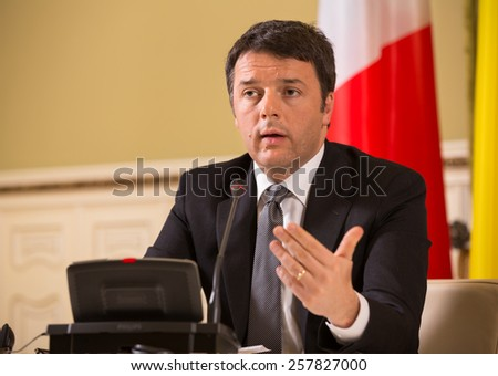 KIEV, UKRAINE - Mar. 04, 2015: Prime Minister of Italy Matteo Renzi during a meeting with the President of Ukraine Petro Poroshenko in Kiev - stock photo