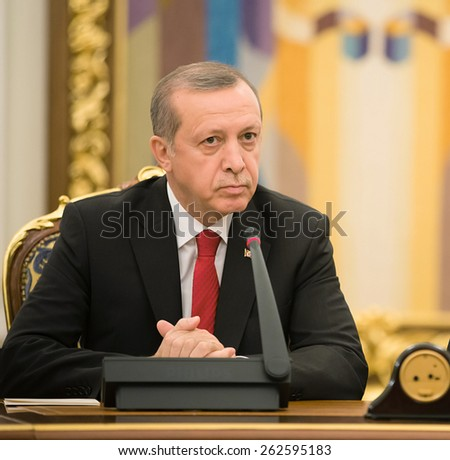 KIEV, UKRAINE - Mar. 20, 2015: Turkish President Recep Tayyip Erdogan and President of Ukraine Petro Poroshenko during a meeting in Kiev
