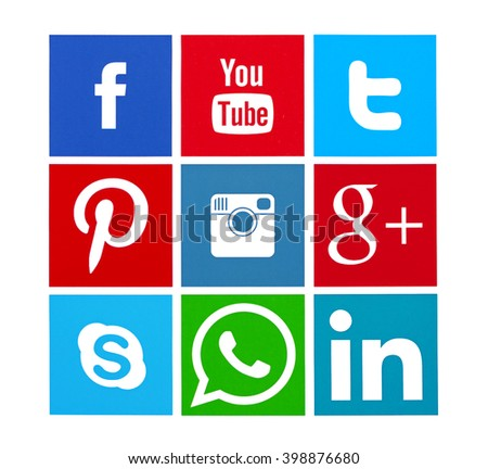 Kiev, Ukraine - March 30, 2016: Collection of popular social media logos printed on paper: Facebook, Twitter, Google Plus, Instagram, Pinterest, LinkedIn, YouTube and others. - stock photo