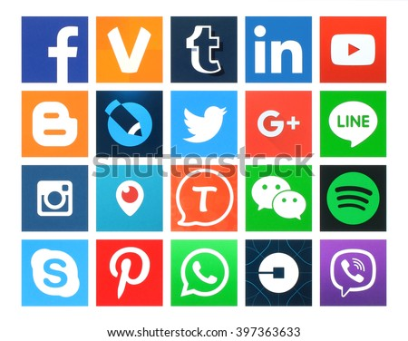 Kiev, Ukraine - March 24, 2016: Collection of popular 20 square social media icons printed on paper:Facebook, Twitter, Google Plus, Instagram, MySpace, LinkedIn, Pinterest, Tumblr and others