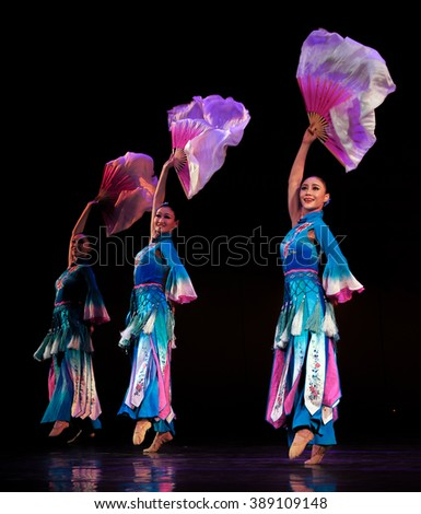 KIEV, UKRAINE - March 1, 2016: Dance of with a fan. -- In National Opera of Ukraine were artists Zheng Chou Opera and Ballet Theatre - stock photo