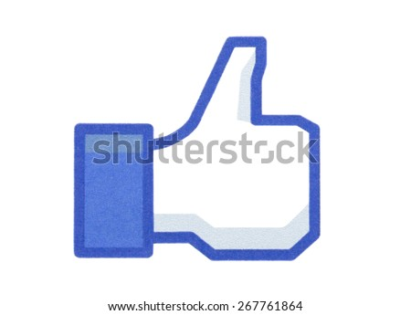 KIEV, UKRAINE - MARCH 31, 2015: Facebook like logo printed on paper and placed on white background. Social network facebook sign on pc sign. - stock photo