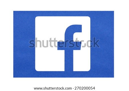 KIEV, UKRAINE - MARCH 8, 2015: Facebook logo printed on paper and placed on white background. Social network facebook sign on pc sign. - stock photo