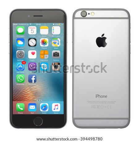 Kiev, Ukraine - March 05, 2016: Front and back view of a space grey color iPhone 6 showing the home screen with iOS9. Isolated on white. - stock photo