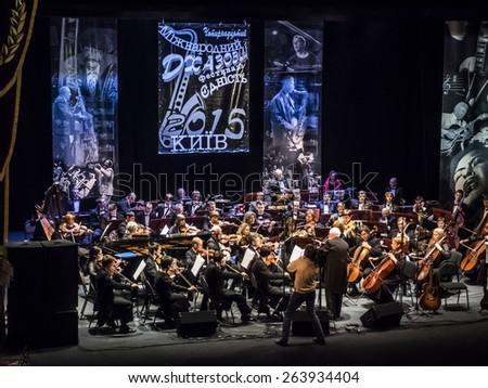 "KIEV, UKRAINE - MARCH 21, 2015:National Presidential Orchestra of Ukraine. 14 international jazz festival ""Unity"". - stock photo"