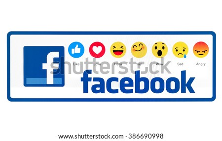 Kiev, Ukraine - March 2, 2016: New Facebook like button 6 empathetic emoji reactions . New emojis as Alternatives to the Like button on pc screen. Social network facebook sign on pc sign. - stock photo
