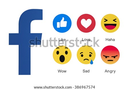 Kiev, Ukraine - March 3, 2016: New Facebook like button 6 Empathetic Emoji reactions  printed on paper. New emojis as Alternatives to the like button.  Facebook is a known social networking service.  - stock photo