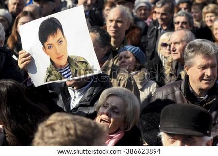 KIEV, UKRAINE - March 6, 2016: Rally in support of Nadezhda Savchenko took place in Kyiv - stock photo