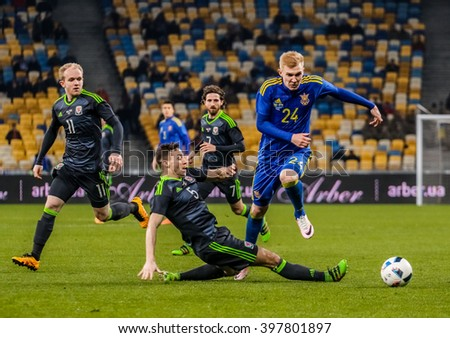 KIEV, UKRAINE - MARCH, 28th: moment with Andrey Yarmolenko scored a goal in a friendly match between the national teams of Ukraine against the team of Wales