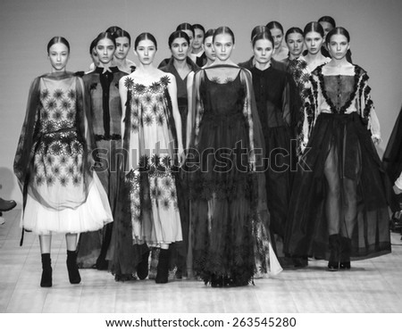 KIEV, UKRAINE - MARCH 19, 2015: The model shows a new collection of Whatever clothing brand  the 36th Ukrainian Fashion Week.  - stock photo