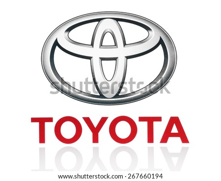 KIEV, UKRAINE - MARCH 21, 2015: Toyota logo printed on paper and placed on white background. Toyota Motor Corporation is a Japanese automotive manufacturer.