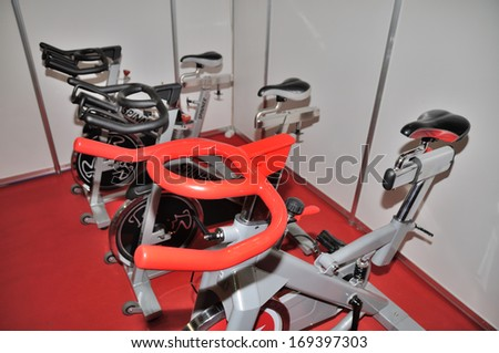 KIEV, UKRAINE - 6 MARCH 2013: Training apparatus for cycle-sport on the international bicycle exhibition on March 6, 2013 in Kiev, Ukraine.