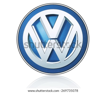 KIEV, UKRAINE - MARCH 21, 2015: Volkswagen logo printed on paper and placed on white background. Volkswagen is a German automobile manufacturer. - stock photo