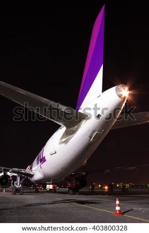 Kiev, Ukraine - March 27, 2011: Wizz Air Airbus A320 passenger plane at the airport at night - rear view