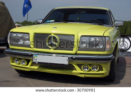 KIEV, UKRAINE - MAY 22: A classic Mercedes car is shown at an exhibition of retro cars at the Auto Show 2009 on May 22, 2009 in Kiev. The show took place from May 22-24. - stock photo
