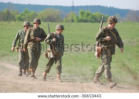 KIEV, UKRAINE - MAY 9: A members of a military history club Red Star wears a historical American uniform as they participate in a WWII reenactment May 9, 2009 in Kiev, Ukraine.