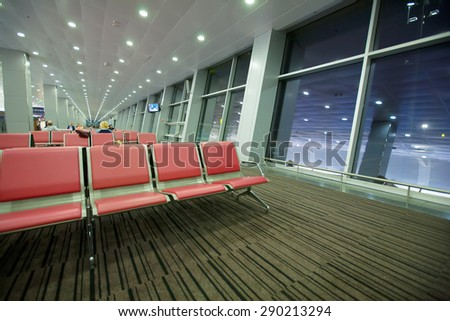 KIEV,UKRAINE - MAY 28 2015: airport terminal biryspil gate chairs