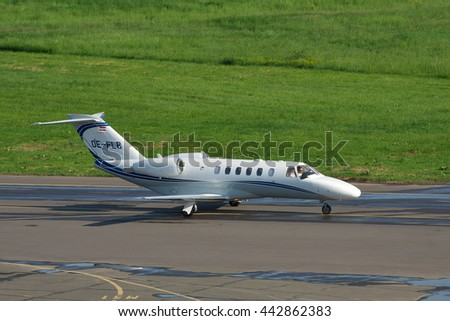 Kiev, Ukraine - May 17, 2012: Cessna 525A Citation Jet 2 Plus taxiing along the apron at the airport