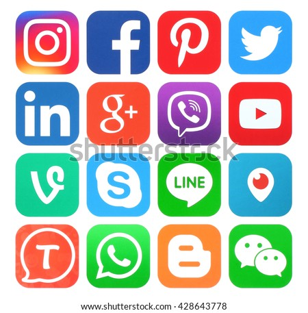 Kiev, Ukraine - May 30, 2016: Collection of popular social media icons printed on paper:Facebook, Twitter, Google Plus, Instagram, LinkedIn, Pinterest, Vine, Youtube and others - stock photo