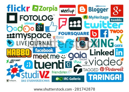 KIEV, UKRAINE - MAY 20, 2015:Collection of popular social media logos printed on paper:Facebook, Twitter, Google Plus, Instagram, Pinterest, Blogger, LinedIn, MySpace and others on white background - stock photo