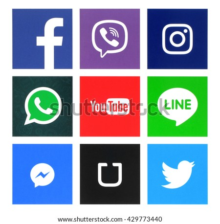 Kiev, Ukraine - May 31, 2016: Collection of popular windows icons printed on paper:Facebook, Twitter, Instagram, Line, Youtube, Viber, Whatsapp, Messenger and Uber