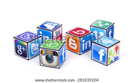 KIEV, UKRAINE - MAY 24, 2015:  Cubes  with logotypes of social media: Facebook,  Twitter, Google Plus, Instagram, Pinterest, Linkedin, viber, tumblr, blogger, youtube, Vimeo and other logos  - stock photo