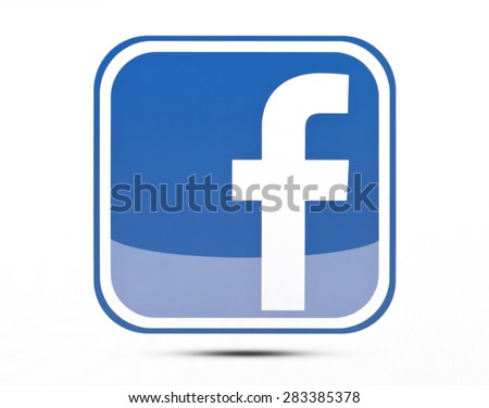 KIEV, UKRAINE - MAY 31, 2015: Facebook like logo for e-business, web sites, mobile applications, banners, printed on paper and placed on white background. Social network facebook sign on pc sign. - stock photo