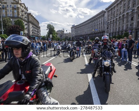 KIEV, UKRAINE - MAY 16, 2015: Hundreds of bikers escorted by traffic police drove through the streets of Kiev. They made a short stop at the Independence Square