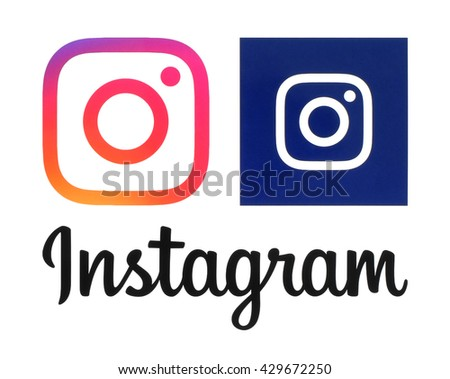 Kiev, Ukraine - May 31, 2016: Instagram new logos printed on white paper. Instagram is an online mobile photo-sharing, video-sharing service.