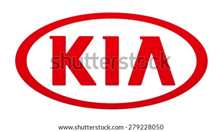 KIEV, UKRAINE - MAY 13, 2015: Kia Motors logo  printed on paper and placed on white background.  Kia Motors  is South Korea's second  largest automobile manufacturer. - stock photo