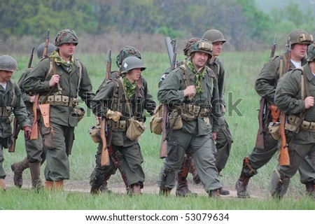 KIEV, UKRAINE - MAY 10 : members of Red Star history club wear historical American uniforms during participation in 1945 WWII reenactment May 10, 2010 in Kiev, Ukraine.