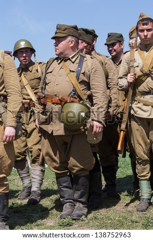 KIEV, UKRAINE - MAY 11 : Members of Red Star history club wear historical CZECH partizan uniform during historical reenactment of WWII on May 11, 20113 in Kiev, Ukraine