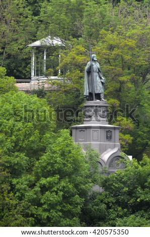 KIEV,UKRAINE - MAY 15, 2016: Monument to Prince Vladimir the Baptist . Kiev. Ukraine - stock photo