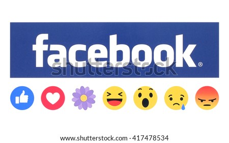Kiev, Ukraine - May 09, 2016: New Facebook like button Empathetic Emoji Reactions with flower printed on white paper. Facebook is a well-known social networking service.