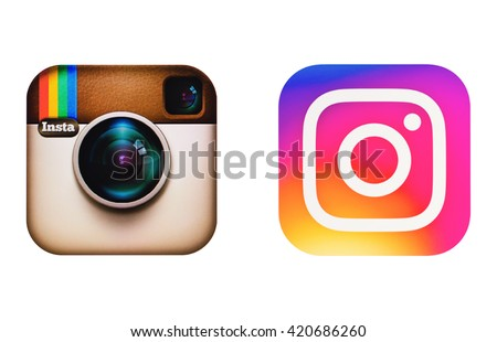 Kiev, Ukraine - May 14, 2016: Old and new logotype Instagram camera icon on pc screen. Instagram - free application for sharing photos and videos with the elements of a social network. - stock photo