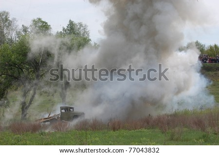 KIEV, UKRAINE - MAY 8 : Red Star military history club . Soviet truck of WW2 explosion during historical reenactment of WWII on May 8, 2011 in Kiev, Ukraine