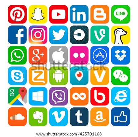 Kiev, Ukraine - May 23, 2016: Set of most popular social media icons: Pinterest, Twitter, YouTube, WhatsApp, Snapchat, Facebook,Skype, Instagram, Android, Flickr,  and others logos printed on paper. - stock photo