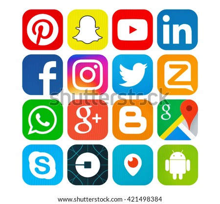 Kiev, Ukraine - May 16, 2016: Set of most popular social media icons: Twitter,linkedin,Youtube, Pinterest, Instagram, Facebook,Skype,Google Plus, Blogger,  Snapchat, Periscope and others on pc screen. - stock photo