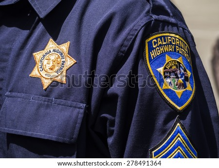 KIEV, UKRAINE - MAY 16, 2015: Shoulder patches US police - California Highway Patrol.  - stock photo
