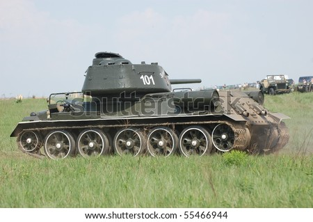 KIEV, UKRAINE - MAY 10 : Soviet tank T-34 during historical reenactment of 1945 WWII, May 10, 2010 in Kiev, Ukraine