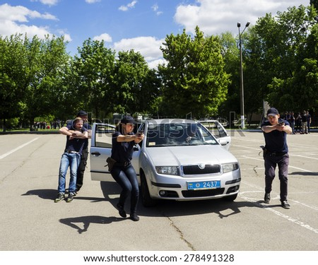 KIEV, UKRAINE - MAY 16, 2015: Students of Institute for Police training Ukraine on practical exercises.  Training of future police officers conducted by experienced Ukrainian and American instructors.