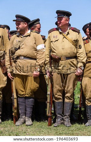 KIEV, UKRAINE - MAY 11, 2013 :Unidentified member of Red Star history club wear historical Soviet uniform during historical reenactment of WWII
