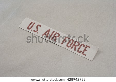 KIEV, UKRAINE - May 9, 2015. US AIR FORCE branch tape on uniform background