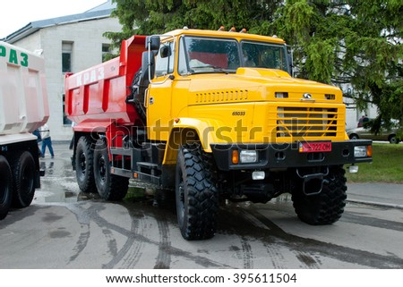 Kiev, Ukraine - May28,  2006. Yellow dump truck KrAZ-65033 with four-wheel drive - stock photo
