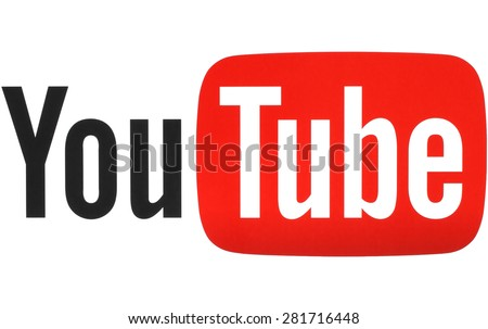 KIEV, UKRAINE - MAY 26, 2015: YouTube logotype printed on paper. YouTube is a video-sharing website. The service was created by three former PayPal employees in February 2005 - stock photo