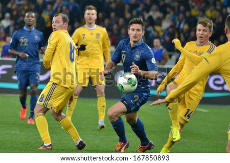 KIEV, UKRAINE - NOV 15: Football team of Ukraine and France in the fight during the play-off match for the 2014 World Cup, 15 November 2013, NSC Olympic Stadium, Kiev, Ukraine