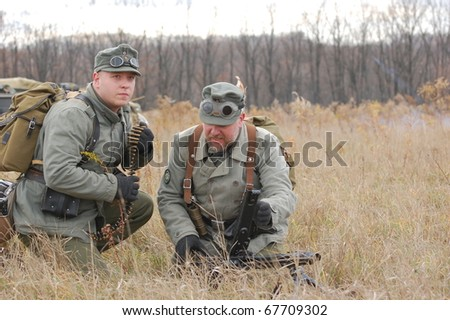 KIEV, UKRAINE - NOV 7: members of Red Star history club wear historical German uniform during historical reenactment of Kiev Liberation in 1943, November 7, 2010 in Kiev, Ukraine