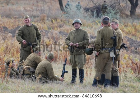 KIEV, UKRAINE - NOV 7: members of Red Star history club wear historical Soviet uniform during historical reenactment of Kiev Liberation in 1943, November 7, 2010 in Kiev, Ukraine