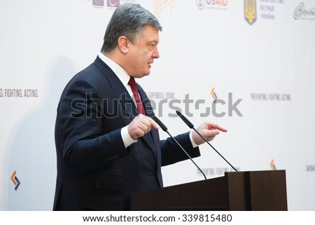 KIEV, UKRAINE - Nov 16, 2015: President of Ukraine Petro Poroshenko during the opening of international anti-corruption conference.  - stock photo