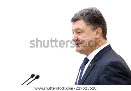 KIEV, UKRAINE - Nov 7, 2014: President of Ukraine Petro Poroshenko speaks at ceremony Taras Shevchenko National Prize in Kiev - stock photo